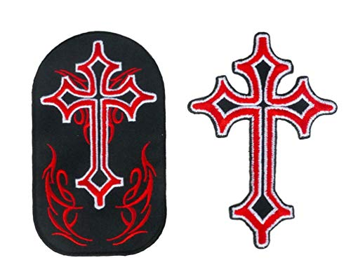 Graphic Dust Gothic Red Cross Embroidered Iron On Patch Celtic Gothic Biker Motorcycle Pirate Flame Sign Symbol Logo Jeans Jackets Knight Shield Skull Jean Jacket