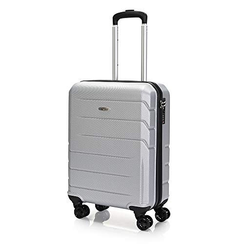 Bontour Spinner Travel Suitcase Hard Shell Trolley Suitcase Twin Wheels Trolley Case with TSA Lock and 4 Wheels Lightweight Silver Silver S
