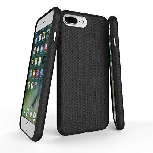 ORIbox Carbon Fiber case for iPhone 7 Plus/8 Plus Case, Basketball Stripe, Shock Protection, Enhanced Grip, Wireless Charging Compatible,Black, Basketball Texture