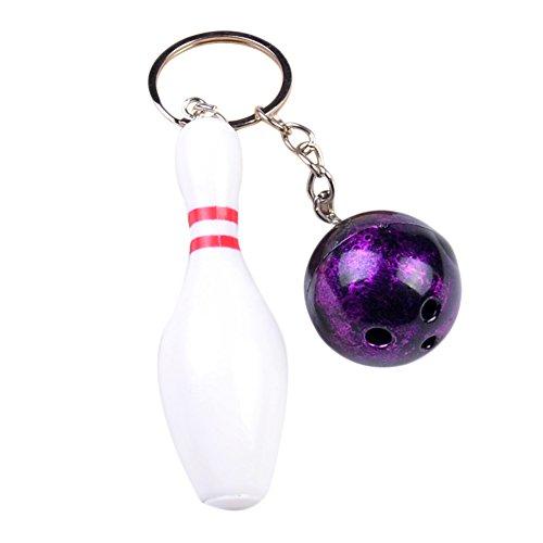 Skyeye 1 Stück Bowling Kunststoff Farbe Schlüsselanhänger Schlüsselring Schlüssel Anhänger Keychain Metall Lila