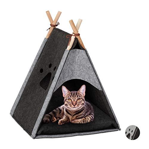 Relaxdays Katzenzelt, Haustiertipi für Katzen & kleine Hunde, aus Filz & Holz, mit Kissen, 57 x 46 x 45 cm, dunkelgrau
