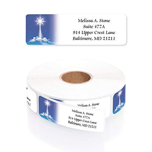 Star of Wonder Designer Rolled Address Labels with Elegant Plastic Dispenser