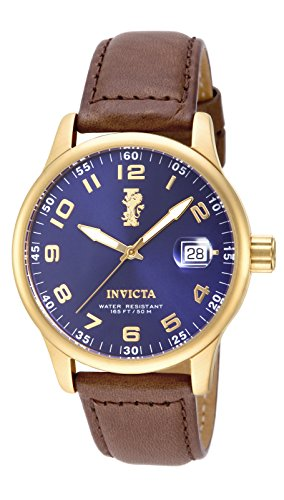 Invicta Mens I-Force 44mm Gold Tone Stainless Steel Watch with Brown Leather Band, Brown (Model: 15255)