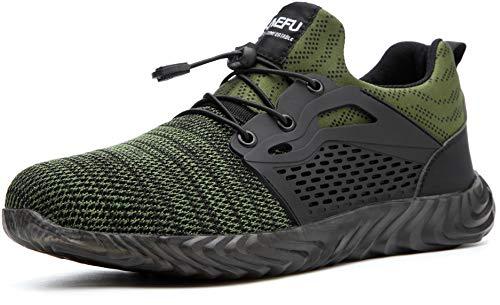 GUFANSI Sicherheitsschuhe Herren S1 Sportlich Leicht Arbeitsschuhe Damen Atmungsaktiv Stahlkappe Sneaker Grün 43EU