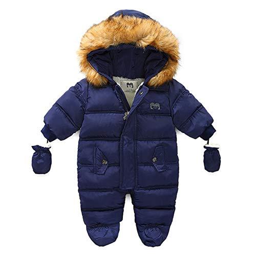 puseky Schneeanzug für Neugeborene, Winter, warm, mit Fell-Kapuzenpullover, Reißverschluss, Overall mit Fäustling Gr. 68, navy