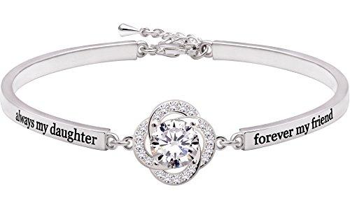 ALOV Jewelry Sterling Silver 'always my daughter forever my friend' Cubic Zirconia Bracelet