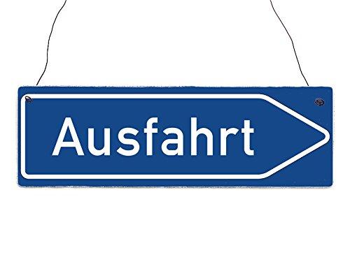 Interluxe Holzschild Shabby Vintage Straßenschild AUSFAHRT Wegweiser Autobahn