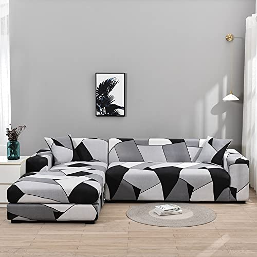 WXQY Funda de sofá de Sala de Estar Chaise Longue, en Forma de L Necesita Comprar 2 Juegos, Funda de sofá elástica Funda de sofá de Esquina en Forma de L A19 4 plazas