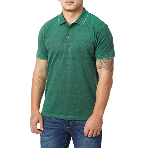 Charles Wilson Birdseye Herren Polohemd mit Kontraststreifen (Small, Green)