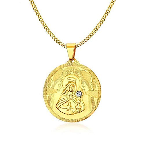 Ahuyongqing Co.,ltd Men Golden Mary Mother of Jesus Round Locket CZ Pendant Necklace Stainless Steel St Benedict Virgin Mary Necklaces Jewelry 60Cm