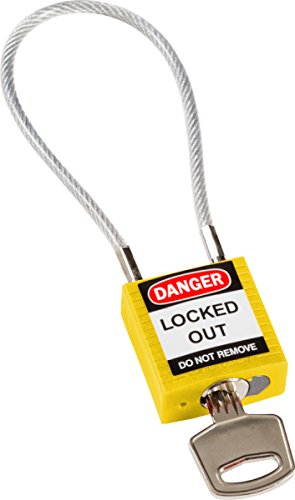 """Brady 146121 Compact Cable Padlock, 5-Pin Cylinder, 4.2"""" Shackle Clearance, 1.31"""" Height, 1.25"""" Wide, 0.56"""" Length, Yellow"""