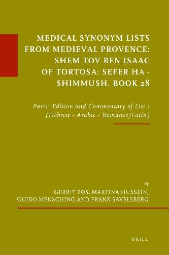 Medical Synonym Lists from Medieval Provence: Shem Tov Ben Isaac of Tortosa: Sefer Ha - Shimmush. Book 29: Part 1: Edition and Commentary of List 1 ... (Etudes sur le Judaisme Medieval, Band 37)