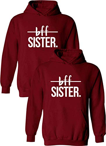 Daisy for U Friends Kapuzenpullis für Zwei Mädchen Damen Best Friends Pullover Freunde Sweatshirt BFF Hoodie mit Kapuze warm Geschenk 1 stücke, XL, Rot