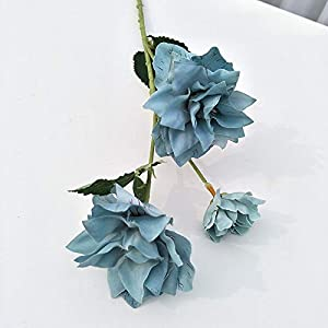Artificial and Dried Flower Narcissus Peony Flower Mixed Artificial Flower Daffodil Plant Double Petals Fake Flower Deco Home Garden Pla – ( Color: Fog Blue)