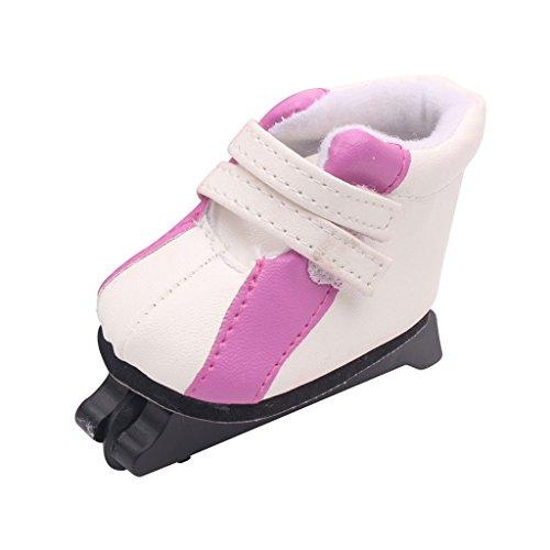 Injoyo 2X 18 '' Zapatos de Patín Patinaje Muñeca Hecho de Piel Zapatillas de Deporte Nieve Accesorio de Traje de Doll