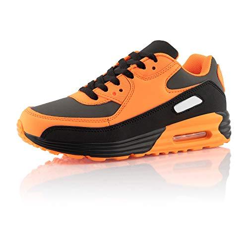 Fusskleidung® Damen Herren Sportschuhe Dämpfung Sneaker leichte Laufschuhe Schwarz Orange Grau EU 42