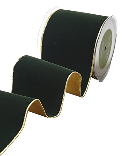 May Arts Green 4 Inch Velvet Ribbon with Gold Backing, 10 yd