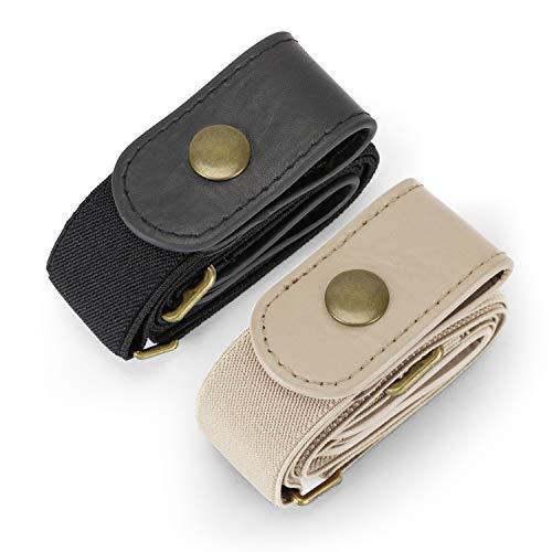 JasGood 2 Pack Schnallenfrei Elastischer Gürtel für Damen oder Herren, Ohne Schnalle Keine Ausbuchtung Unsichtbare Gürtel, Schwarz/Beige Weiß, Hosengrößen 55cm-90cm