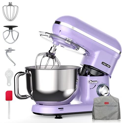 CHeflee Batidora Amasadora 1500W Mezclador 5L Robot de Cocina 6 + P Speed Mezclador Eléctrico de Alimentos con 6 Accesorios de Masa, Crema, Pastel, Mezclador de Cocina Stand Mixer