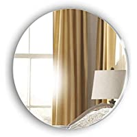 Frameless Circle Bathroom Glass Look Acrylic Mirror - Lightweight Shaving Mirror - Stick on Mirror