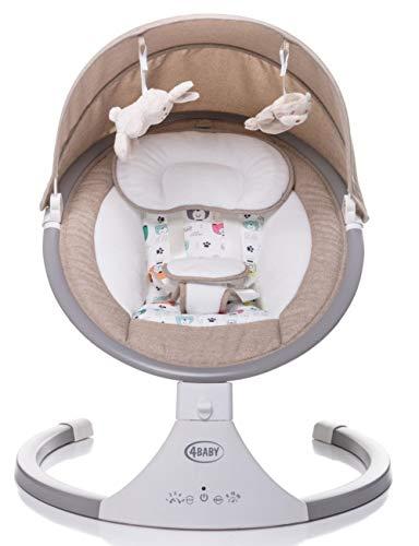 4 BABY Elektrische Kinderschaukel Babywippe Elektrisch Schaukelfunktion Elektrische Babywippe Wippe Schaukel Wippe Babyschaukel Elektrisch Spielzeugbügel Rock'n Relax