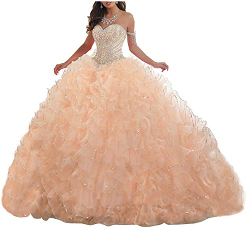 Lovely Romana Women's Organza Ruffles Quinceanera Beaded Sweetheart Prom Ball Gown