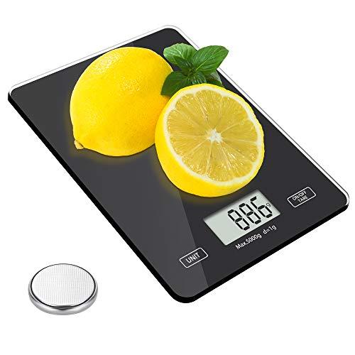 Meromore Digitale Küchenwaage, Elektronische Küchenlebensmittelwaage Waage Digitalwaage aus Sicherheitsglas mit LCD Display 5kg / 11lb