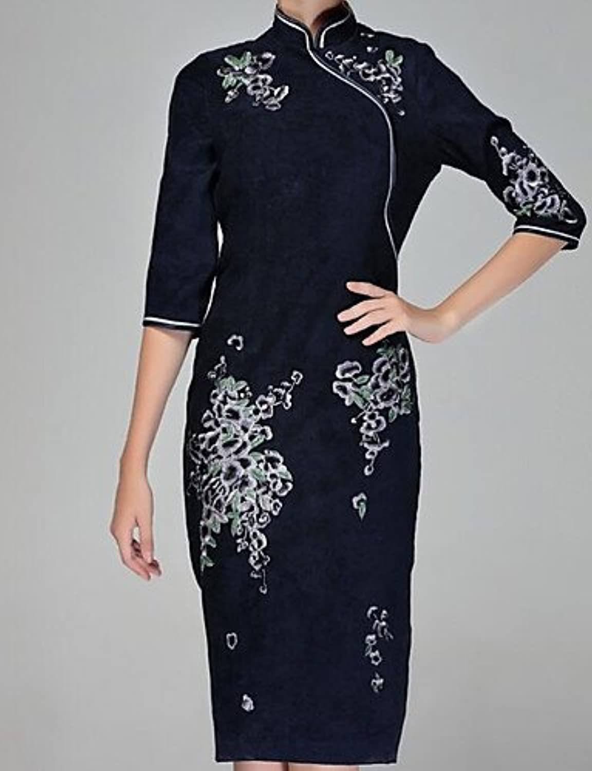 GAOLIM Women's Going KneeLength Dress, Floral Ruched Stand 3 4 Length Sleeves,Navy blueee,XL