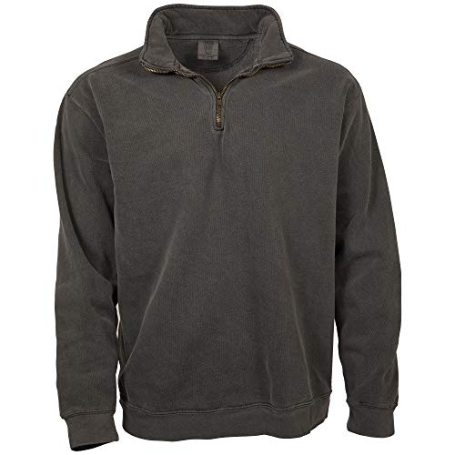 Comfort Colors Men's Adult 1/4 Zip Sweatshirt, Style 1580, Pepper, X-Large