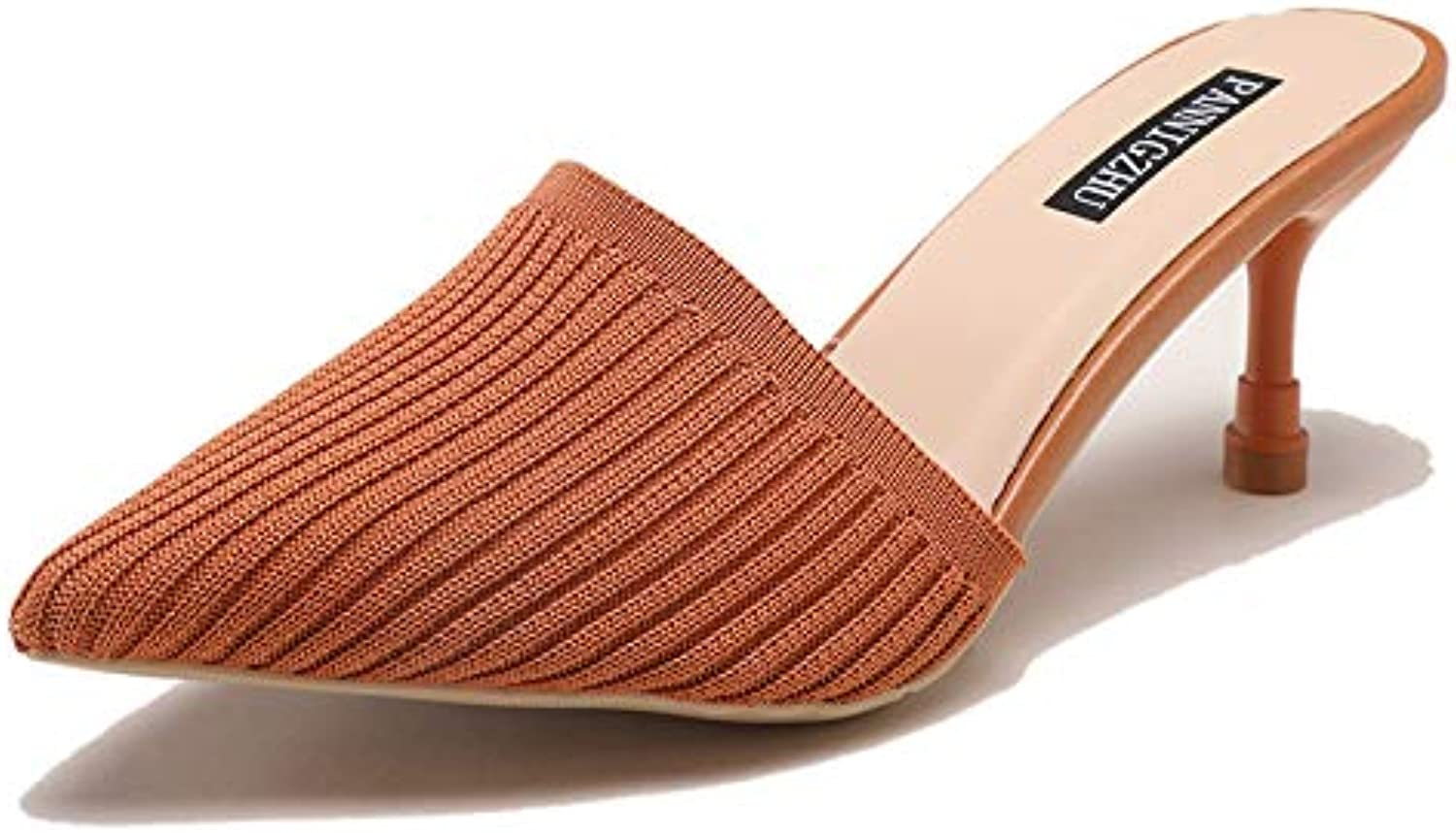 SUNNY Store Women Sandals Med Heel Open Toe Beach Ladies Height Increasing shoes Mule