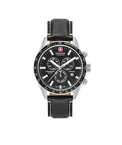 Swiss Military Herren Chronograph Quarz Uhr mit Leder Armband 06-4314.04.007