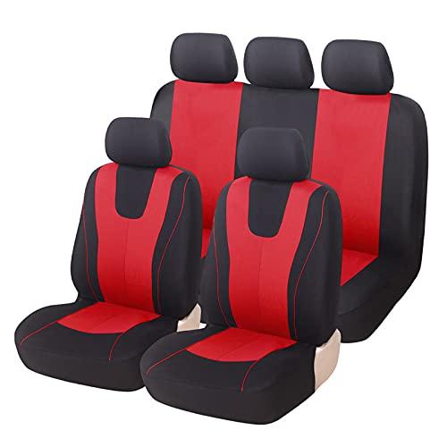 Conjuntos de tapas de asiento de automóvil, cubiertas universales de asiento de tela de poliéster transpirables universales Conjunto completo Airbag Cojín compatible Protector