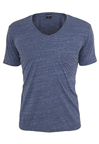 Melange V-Neck Pocket T-shirt Urban Classics Men TB484, couleur:blue/white;taille:XL
