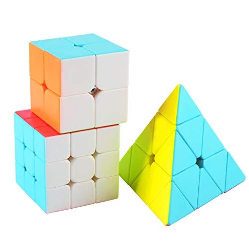 Speed Cube Set Stickerless, Cubo de Velocidad 3x3 Stickerless+Cubo Mágico 2x2+Pyraminx Piramide 3x3, Rompecabezas Puzzle Juguetes para Adulto & Niños(3 Pack)