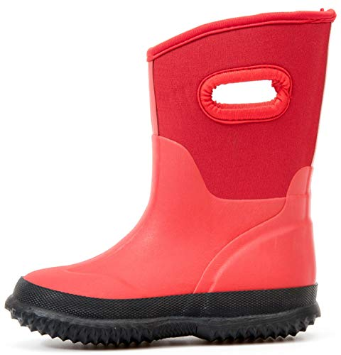 Outee Toddler Rain Boots Girls Kids Neoprene Boots Rubber Snow Winter Waterproof Outdoor Shoes...