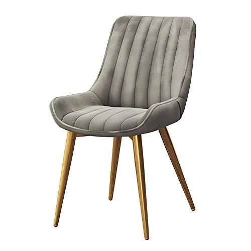 YLCJ stoelen stoel, thuis 54 * 53 * 87 cm met rugleuning eetstoel Scandinavische moderne en minimalistische creatieve vrije tijd kruk Restaurant cafe Computer bureaustoel Gold Legs - Flannel Grey
