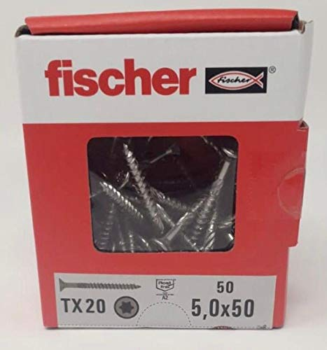 Fischer - Viti Premium Power Fast 50 in acciaio INOX per pannello truciolare, 5,0 x 50 TX 20