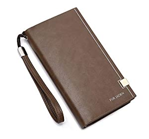 FUR JADEN Women's Leather Stylish Long Ladies Wallet with Zip Pocket, Multiple Card Holders and Phone Zip Pocket (Beige)