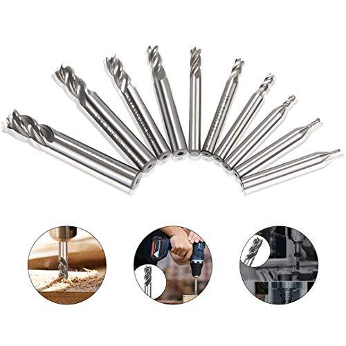 10tlg HSS Schaftfräser CNC Drehmaschine geraden Schaft,4 Flöte Spiralfräser Schneide Schaftfräsersatz Drill End Mill Fräser Bit 1.5/2/3/4/5/6/7/8/9/10mm
