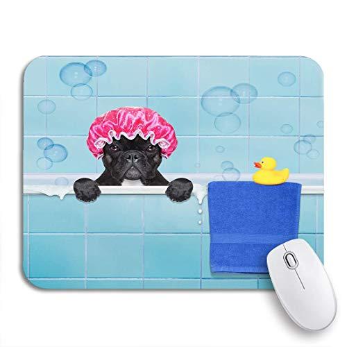 Gaming Mouse Pad Französische Bulldogge Hund in der Badewanne nicht so amüsiert über rutschfeste Gummi Backing Mousepad für Notebooks Computer Maus Matten