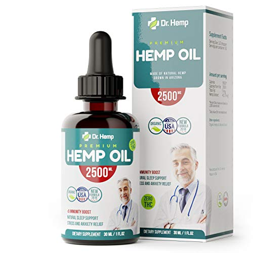 Hemp Oil Extract - 2500mg - Sleep and Pain Relief Supplement - 100% Organic Hemp Drops - Rich in MCT Fatty Acids - Made in USA