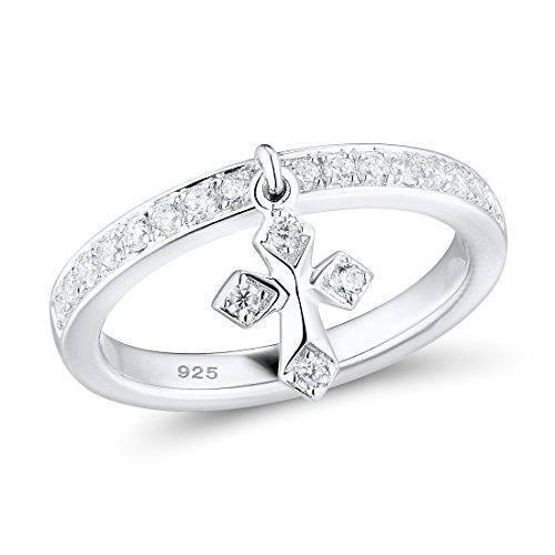 Santuzza Silver Rings for Women 925 Sterling Silver Cross Rings Female Rose Gold Color White Cubic Zirconia Ring Set Fine Jewelry (Rhodium-Plated-Silver, 6)