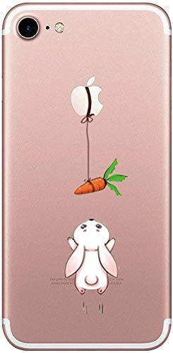 Caler Compatibile per iPhone 8/iPhone 7 Cover, Custodia per iPhone SE 2020 Originale Arancione Trasparente Animali Disegni Gel Morbido Marmo 3D Rigido Sottile Ultra Slim TPU (Carota di Coniglio 1)