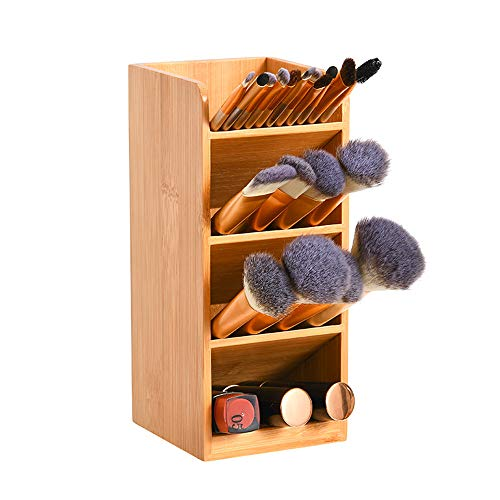 Porta penne in legno di bambù, organizer multifunzione da scrivania, organizer per cancelleria, per ufficio, scuola, casa e articoli artistici (bambù)