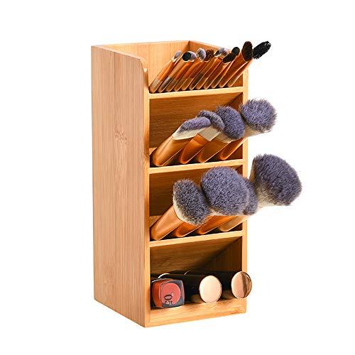 竹製 筆立て 卓上収納ケース 多機能 リモコン 化粧ブラシ 収納ラックペンスタンド 文房具 事務用品収納 (1個)
