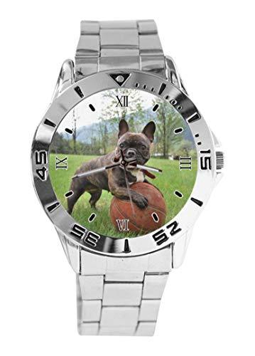 Baloncesto Bulldog Francés Diseño Reloj de Pulsera Cuarzo Dial Plata Clásico Acero Inoxidable Banda de Mujer Reloj de Hombre