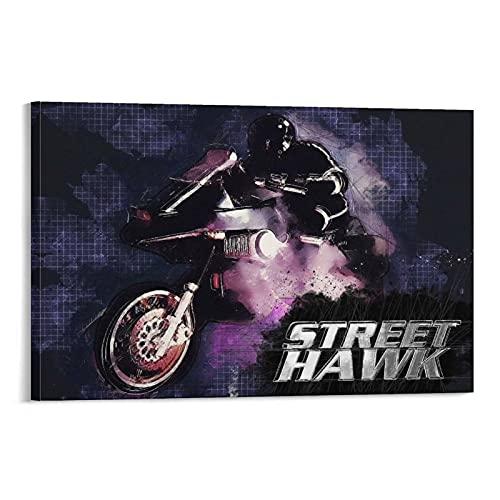 Retro Action Poster Sketchy Street Hawk Leinwanddruck Heimdekoration für Wohnzimmer Schlafzimmer Wand-Bilderrahmen 20 × 30 cm