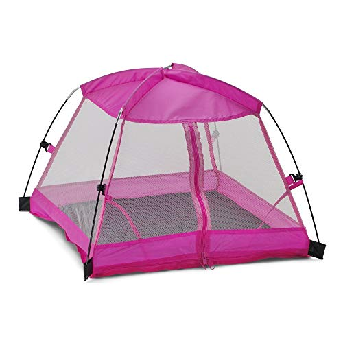 Emily Rose 14 Inch Doll Accessories for Wellie Wishers | Amazing Pink Dining Canopy 14' Doll Camping Tent, Includes Matching Carry Case | Fits 14' Glitter Girls Dolls and Many More!