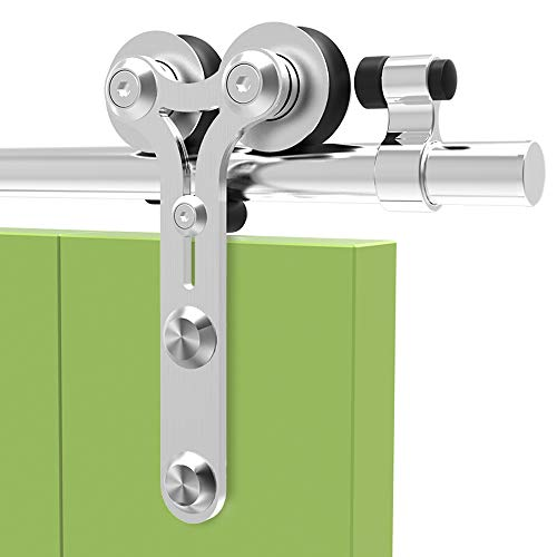 182cm/6FT Edelstahl Laufschiene Schiebetürbeschlag,Innentüren Schiebetürsystem für Schiebetüren, für Holztür -stainless steel sliding barn wood door