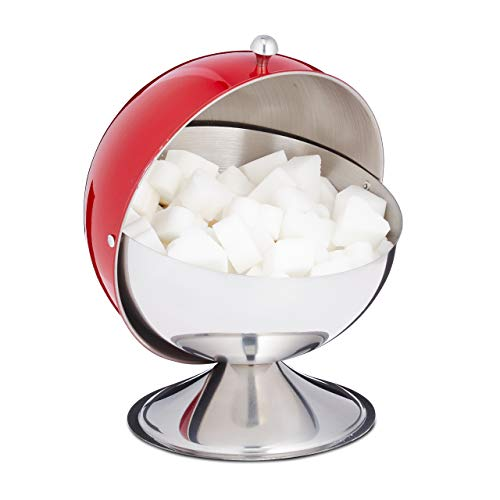 Relaxdays Zuckerdose, mit Rolldeckel, glänzender Edelstahl, für Zucker & Süßigkeiten, Bonbondose, Zuckerkugel, rot